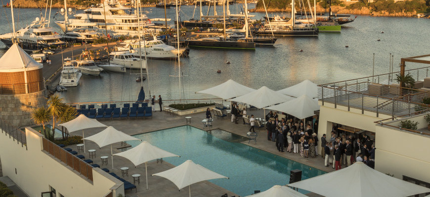 Welcome Cocktail Party set on the YCCS terrace,Luxi33,Loro Piana Superyacht Regatta, LPSR15, Cantiere Savona, ultimate solar motoryachts